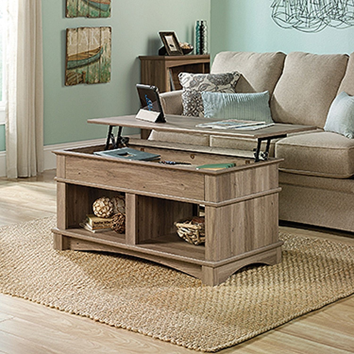 Lift Table Coffee Table: Harbor View Lift-Top Coffee Table Salt Oak * D
