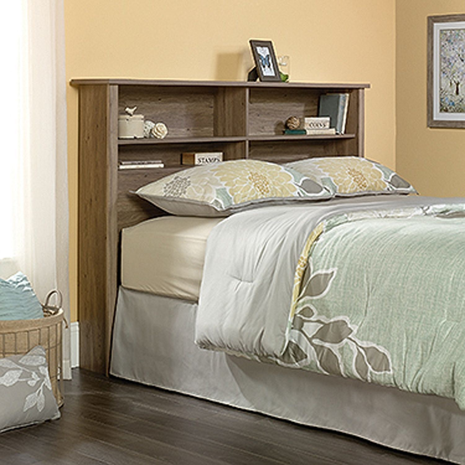 County Line Full Queen Bookcase Headboard Salt Oak