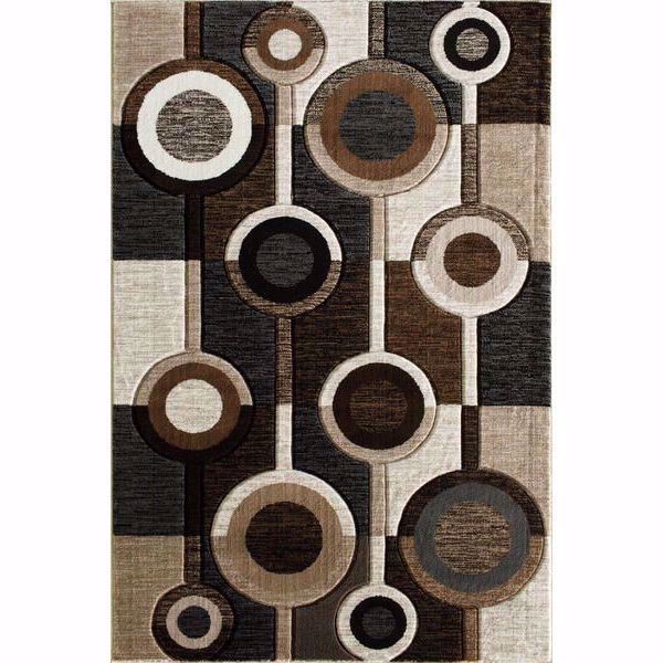 Alburnett Brown Circles 8x10 Rug D Central Oriental