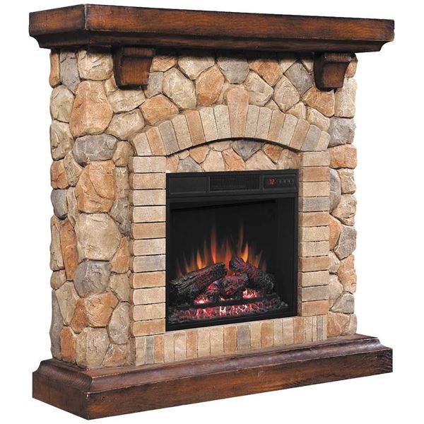 Picture of Tequesta Stone Fireplace with Insert