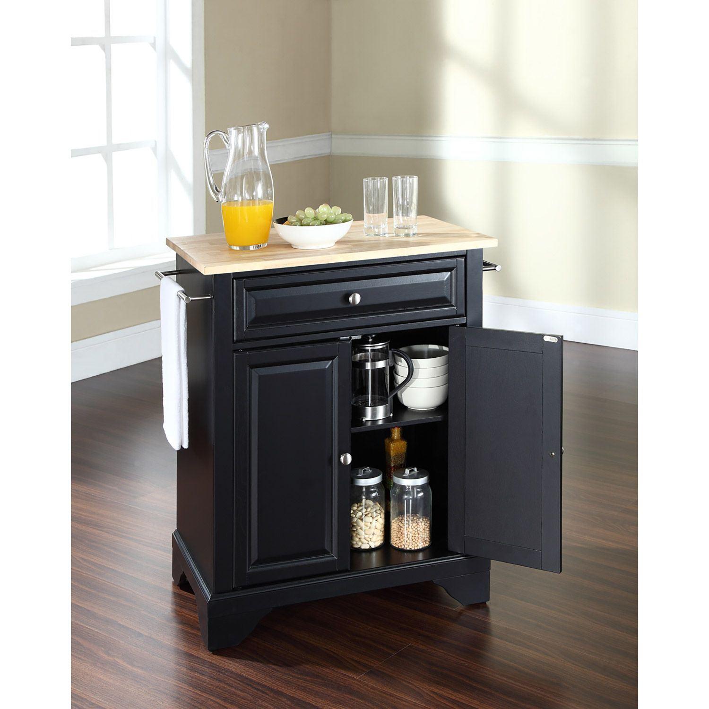 Picture of Lafayette Wood Top Kitchen Cart, Black *D