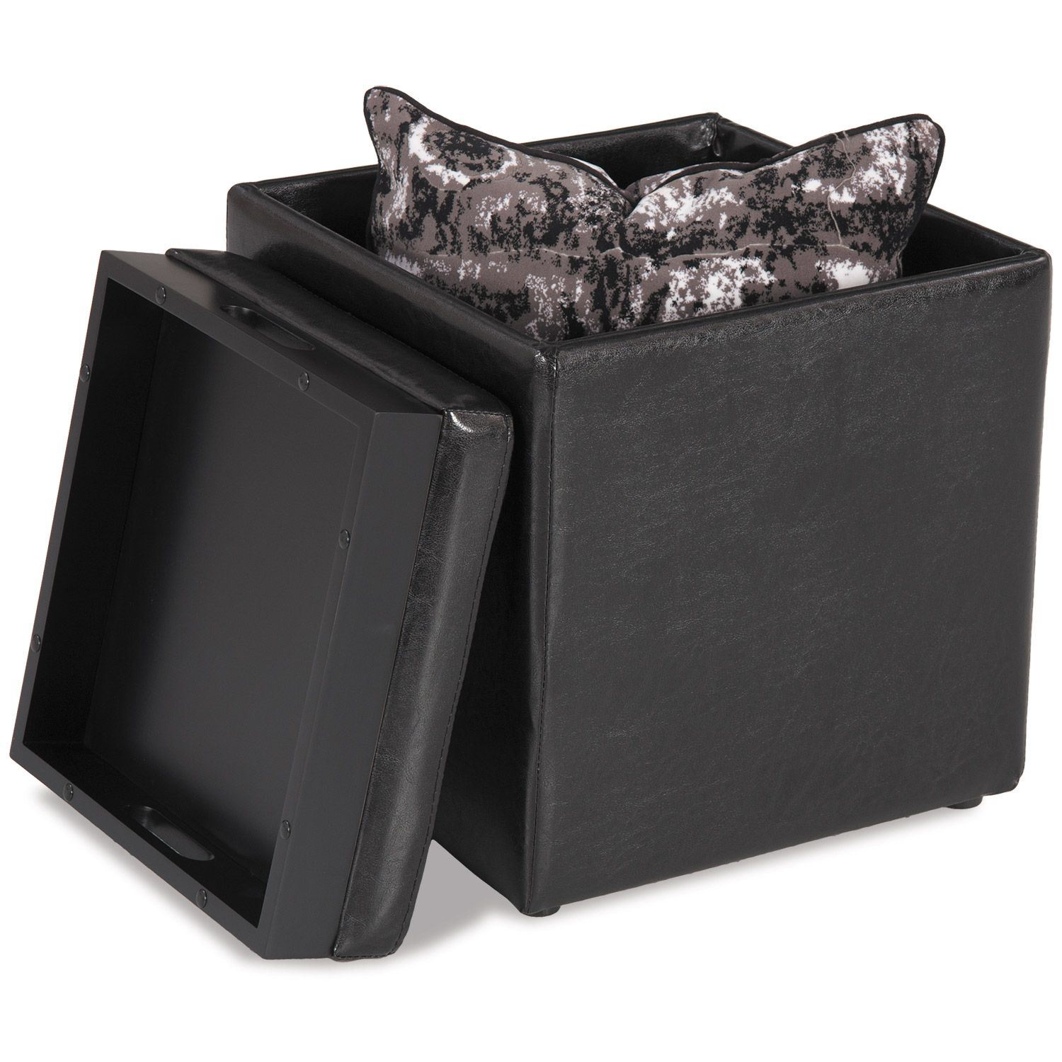 Picture of Blocks Black Storage Ottoman with Tray