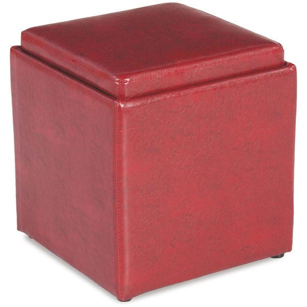 Picture of Blocks Orange Storage Ottoman with Tray