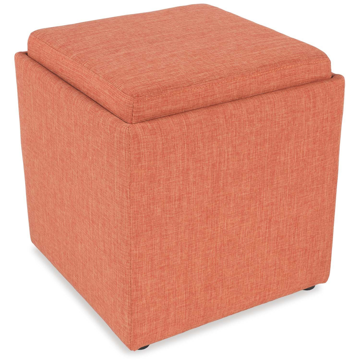 Picture of Tangerine Storage Ottoman with Tray