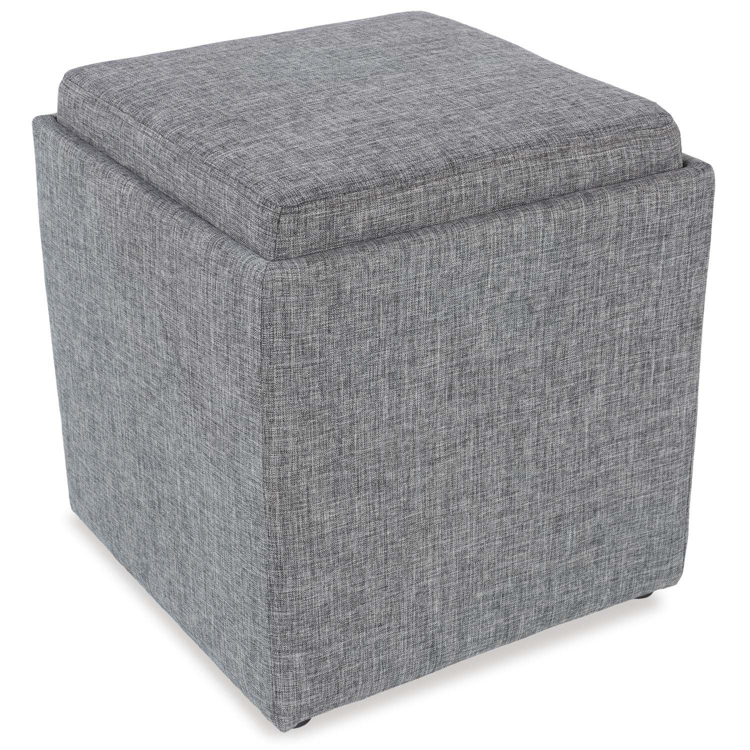 Miraculous Gray Storage Ottoman With Tray Gmtry Best Dining Table And Chair Ideas Images Gmtryco