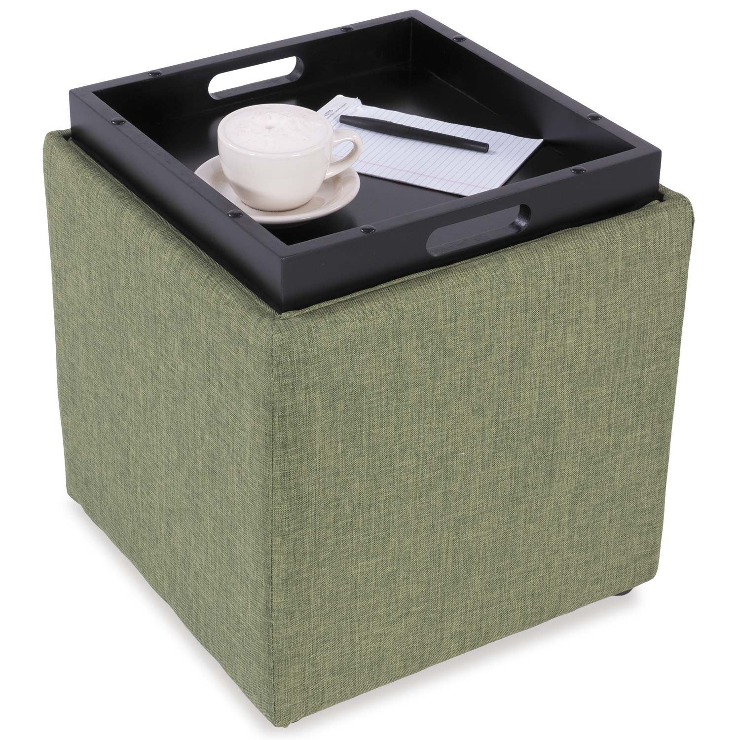 Picture of Fern Green Storage Ottoman with Tray