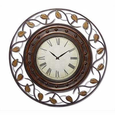 Picture of Round Metal Wall Clock with Leaf Design