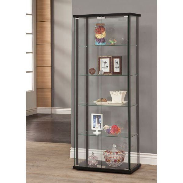 Picture of Black 5 Shelved Curio Cabinet *D