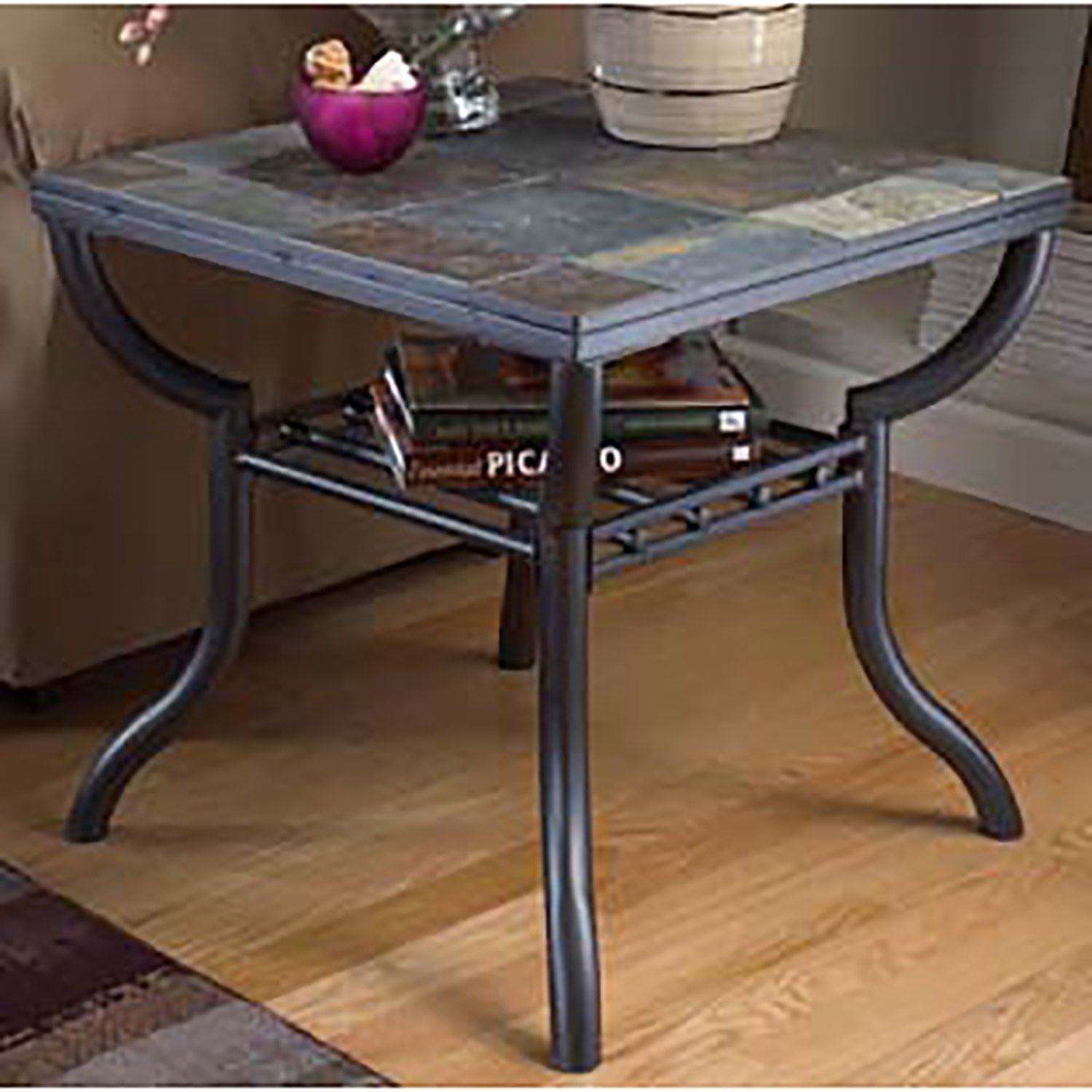 Square End Table Slate And Metal T233 2 Ashley Furniture Afw Com