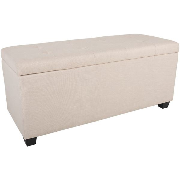 Picture of Linen Shoe Storage Ottoman