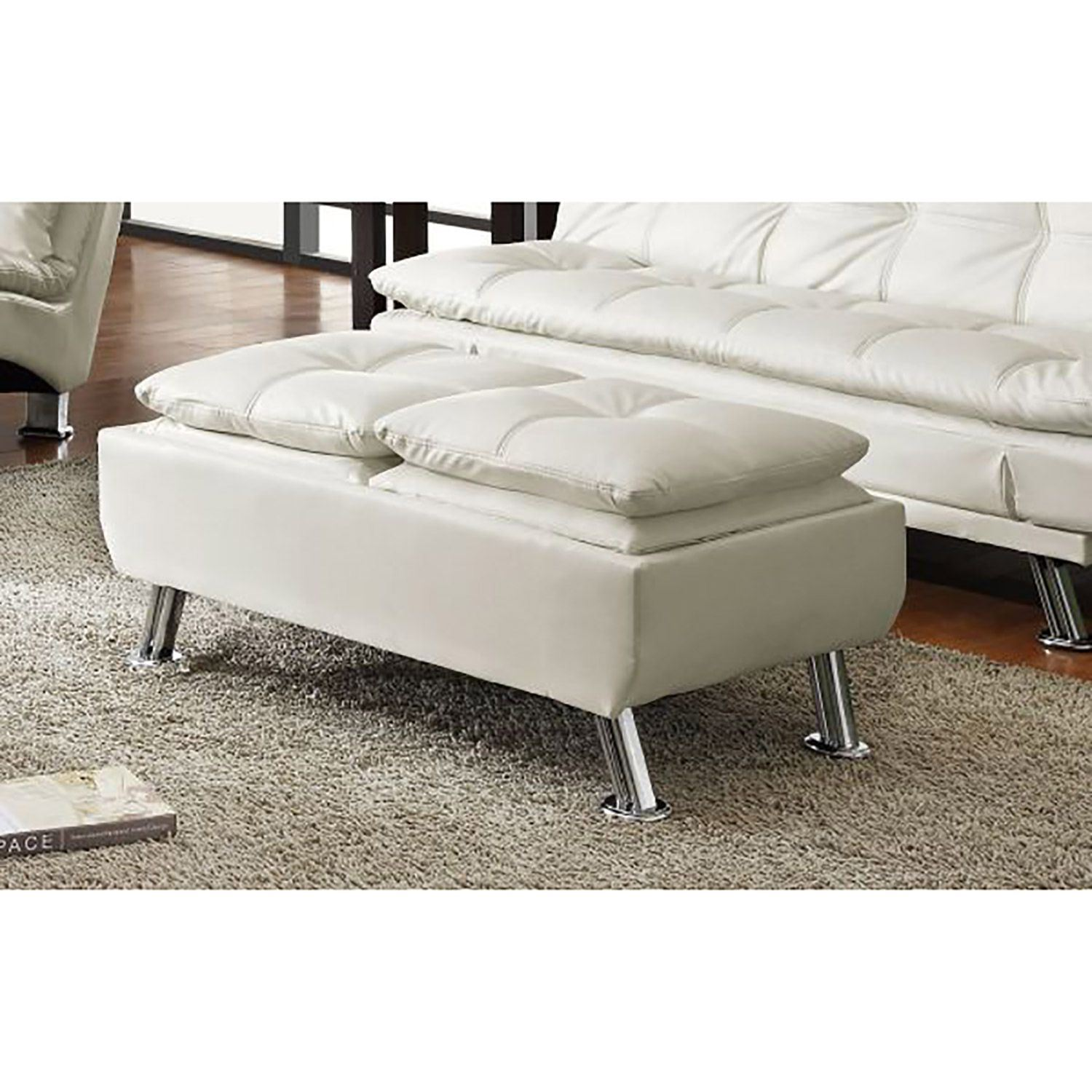 Picture of White Storage Ottoman *D