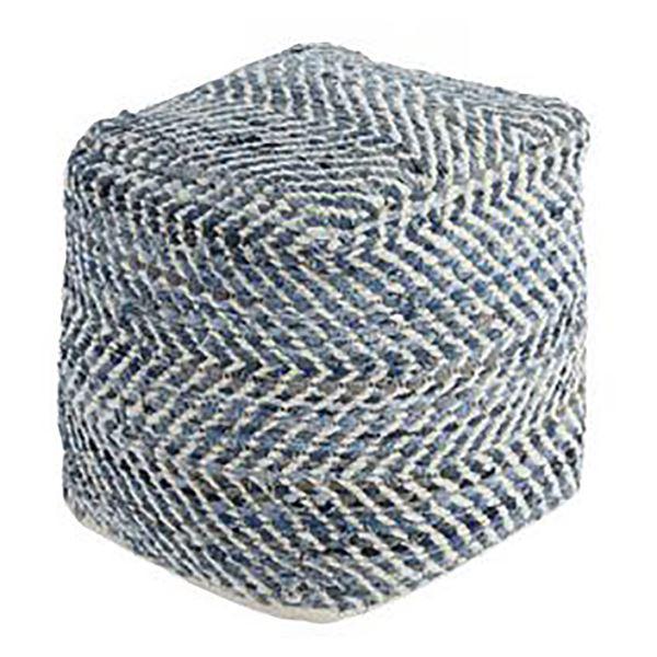 Picture of Blue Denim Cube Chevron Pouf *D