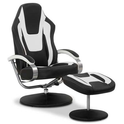 Picture of Cosmo Black and White Swivel Chair With Ottoman