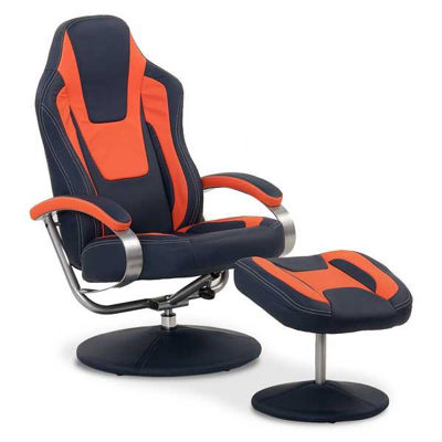 Picture of Cosmo Blue and Orange Swivel Chair With Ottoman