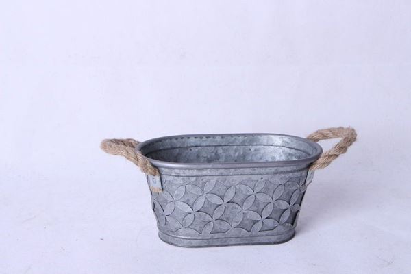 Picture of Small Oval Metal Tub with Rope Handles