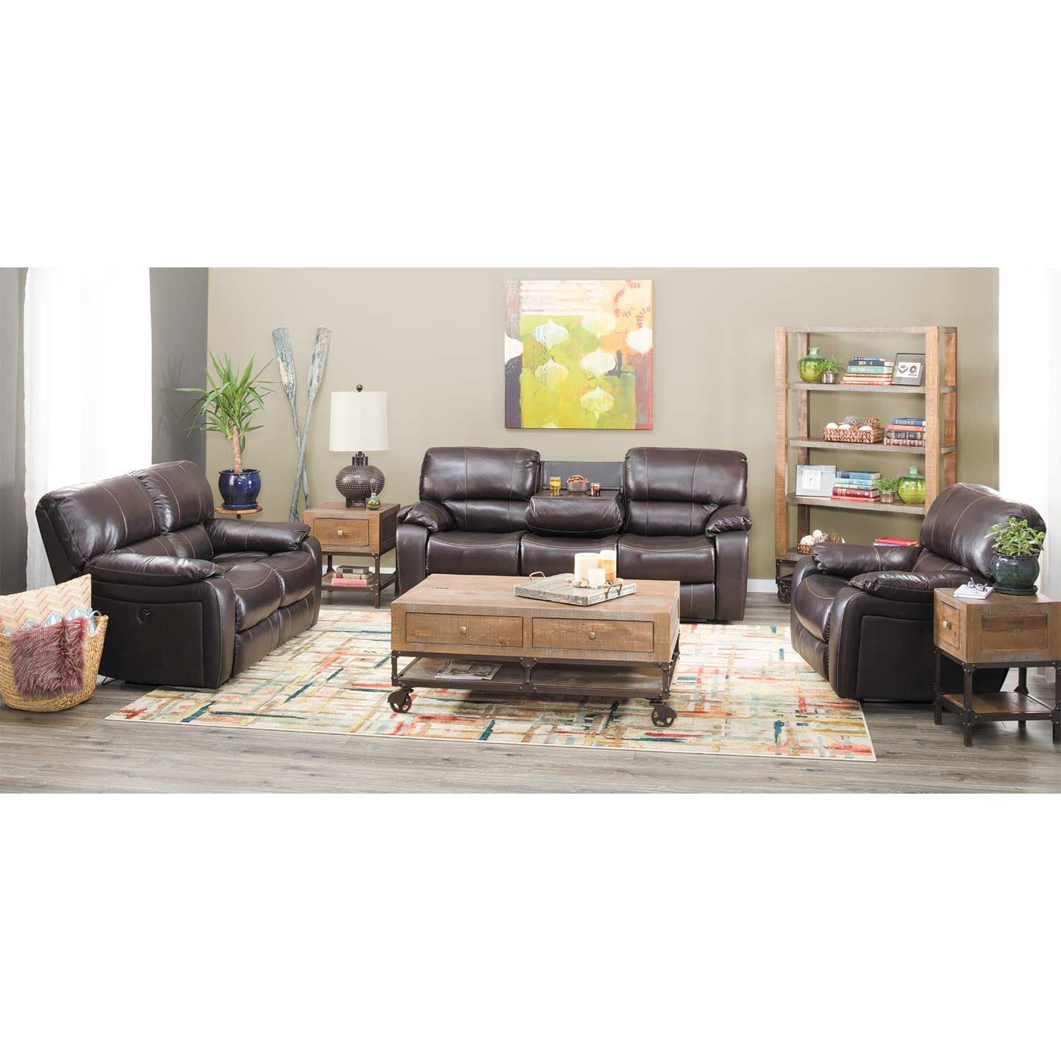 Picture of Wade Brown Top Grain Leather Reclining Loveseat