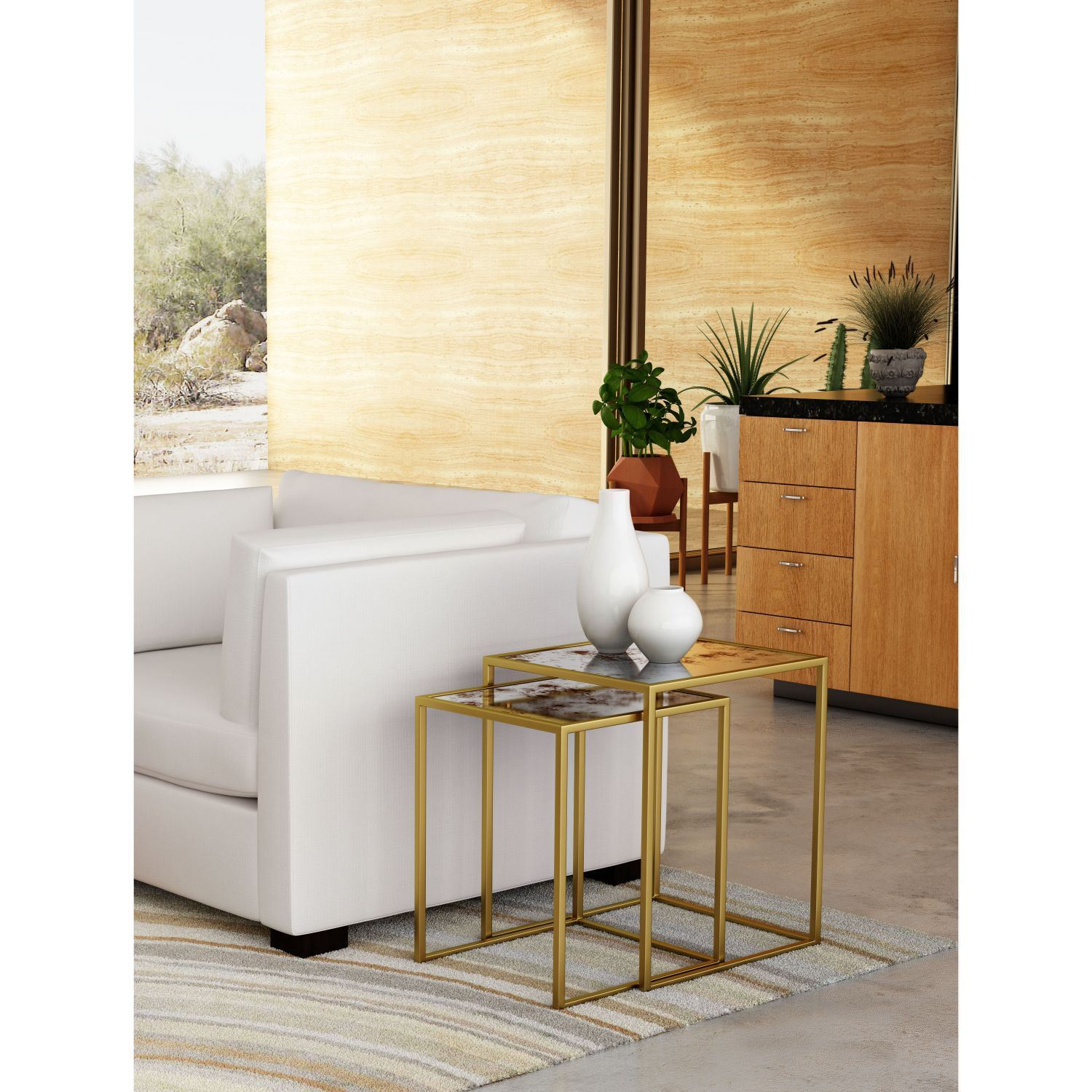 Picture of Calais Nesting Tables Brass *D