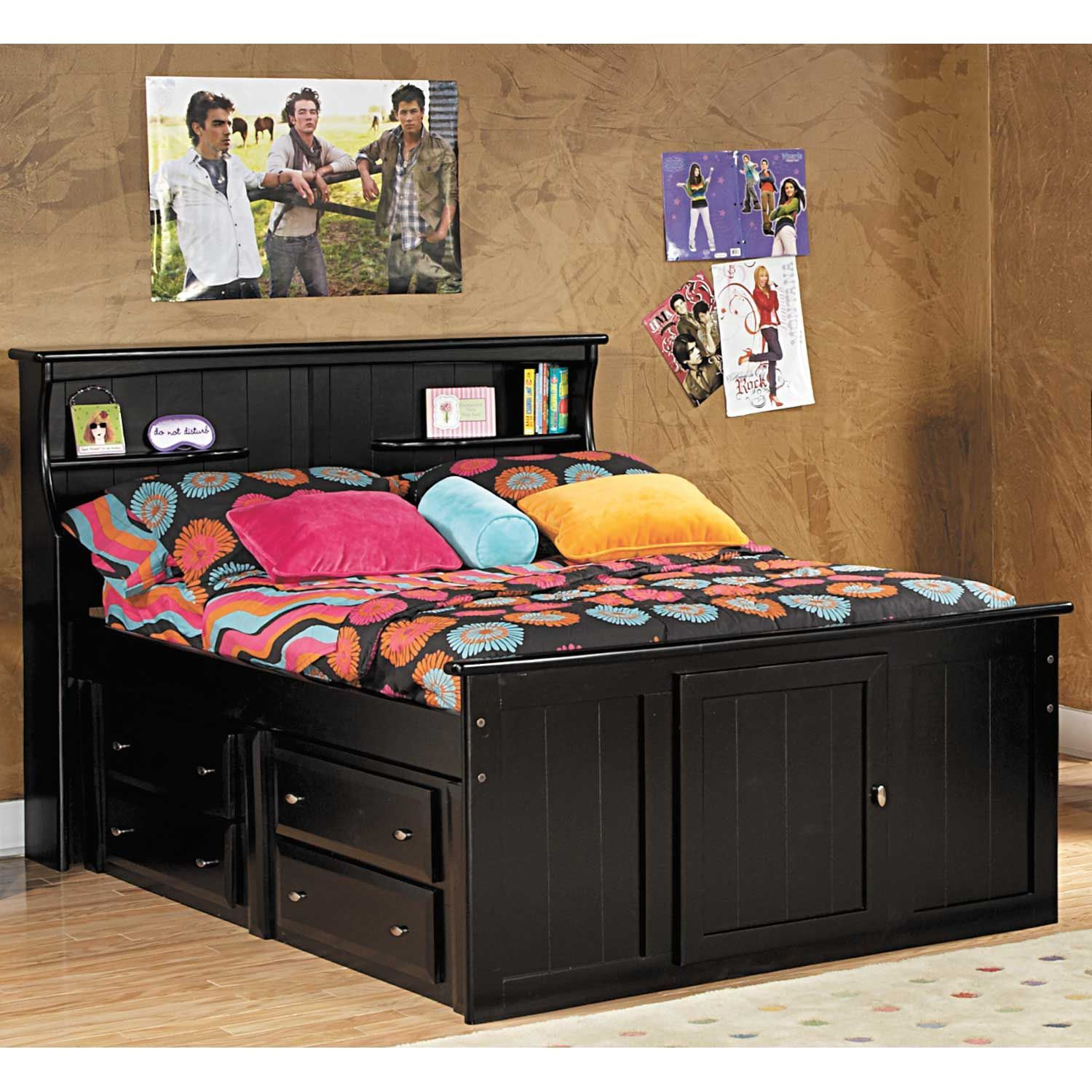 Storage Bed Frame Wood Twin Furniture With Two Drawer