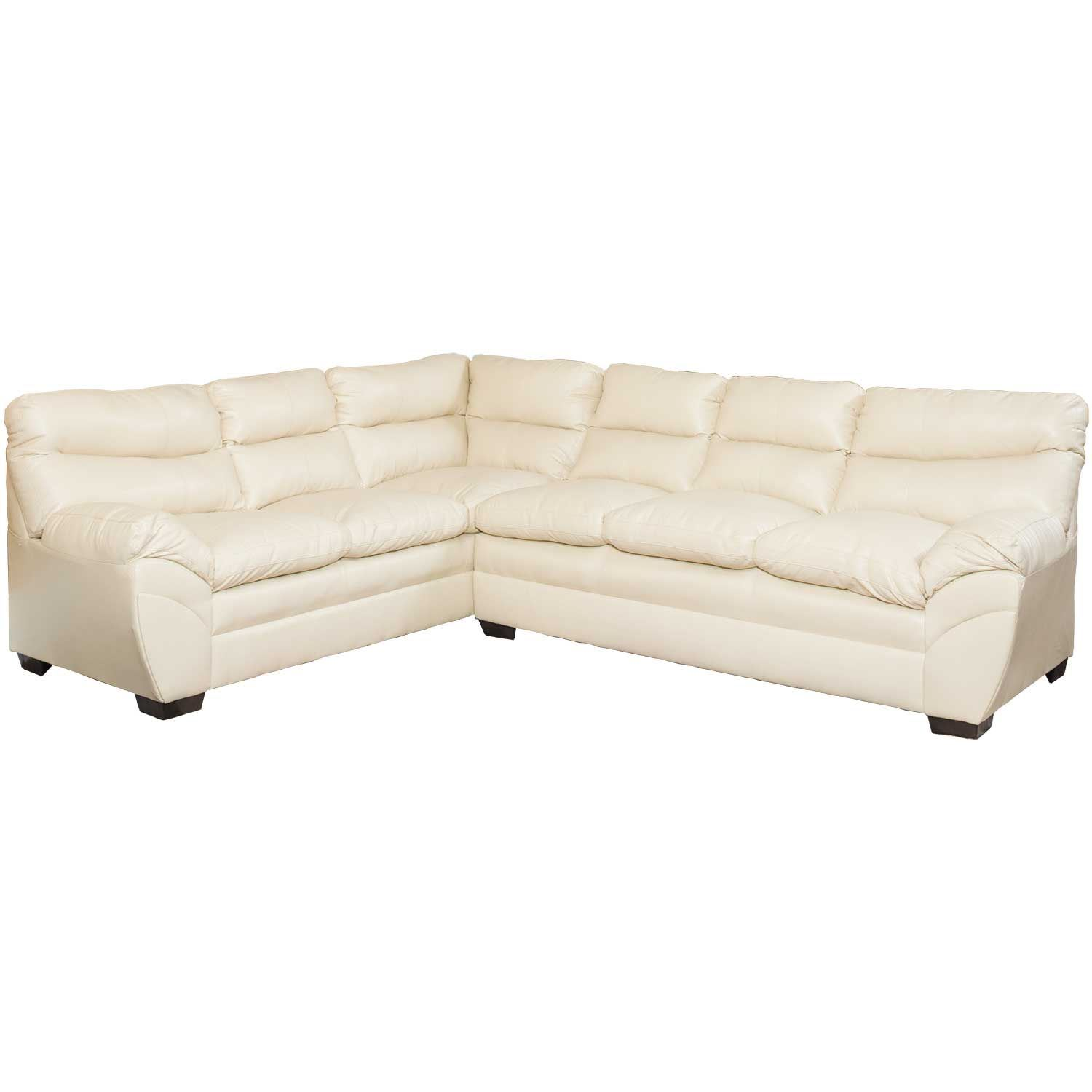 - Soho 2 Piece Cream Bonded Leather Sectional 9515 RS LS CREAM
