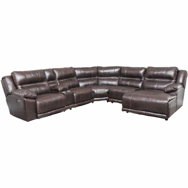 Picture of Bergamo 6 Piece Power Reclining Sectional with Adjustable Headrest and Lumbar Support with RAF Chaise