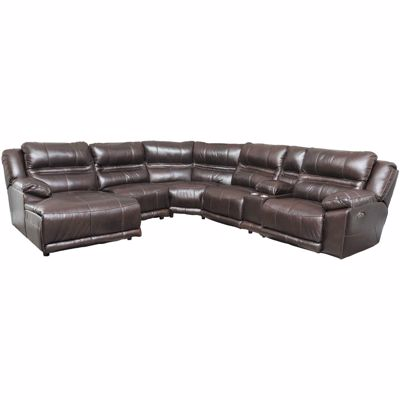 Picture of Bergamo 6 Piece Power Reclining Sectional with Adjustable Headrest and LAF Chaise