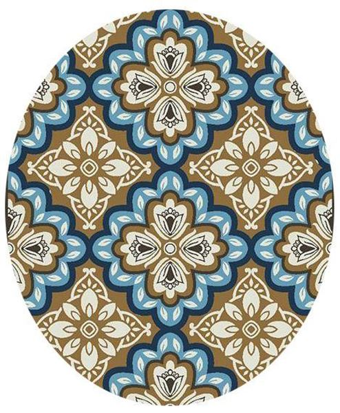Freya Latte Blue Medallion 8rnd Outdoor Rug 6005 54 73 Central