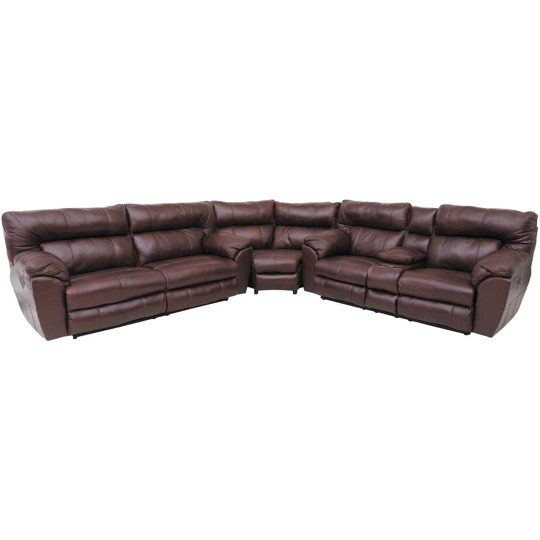 Walnut Italian Leather 3 Piece Power Sectional