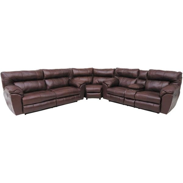 Picture of Walnut Italian Leather 3 Piece Power Sectional