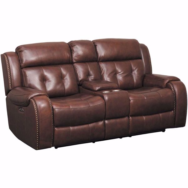 Picture of Owen Leather Power Reclining Console Loveseat with Adjustable Headrest