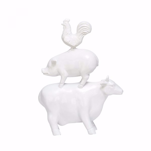 Picture of Stacked Animals In White