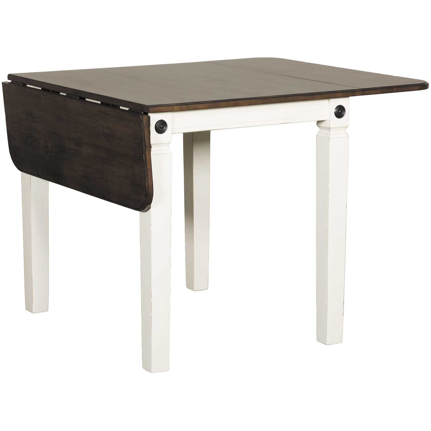 Glennwood Two Tone Drop Leaf Dining Table In White Charcoal Gw Rwc