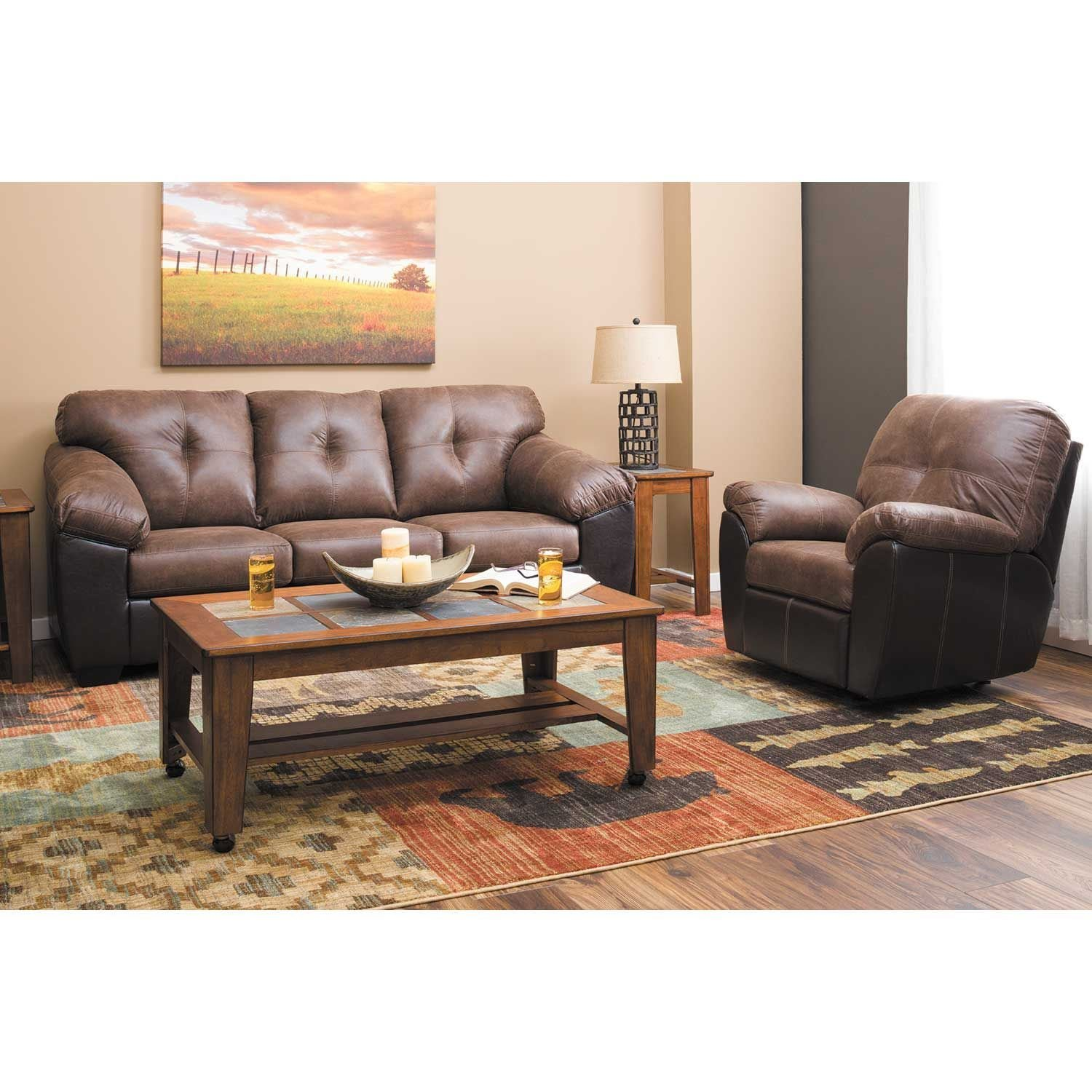 Picture of Gregale Coffee Two-Tone Rocker Recliner