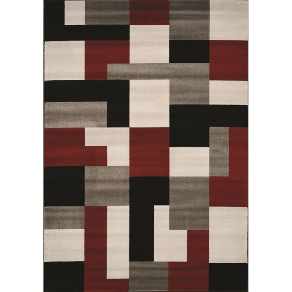 Picture of Platinum Red Charcoal Blocks 5x8 Rug