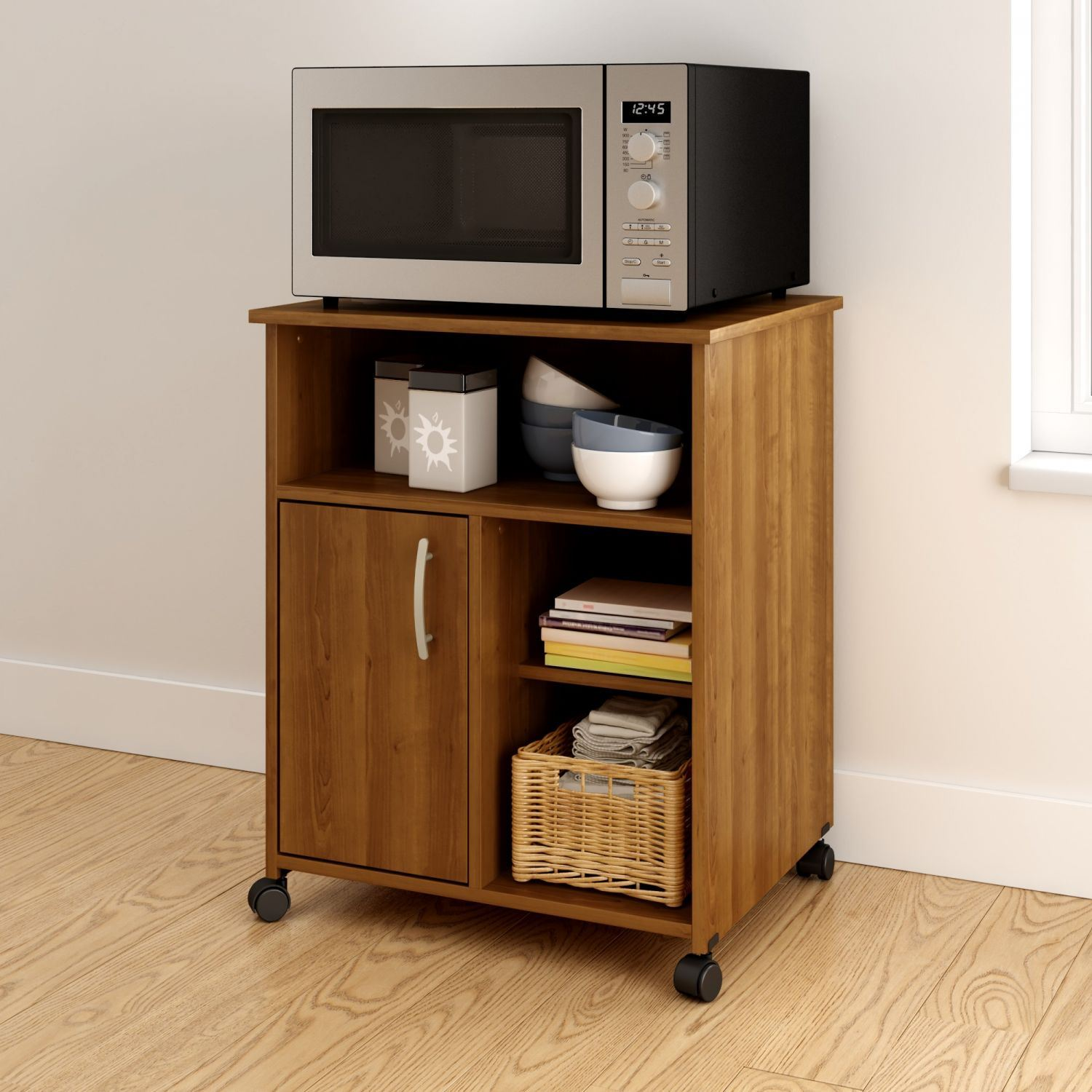 Picture of Axess Microwave Cart with Storage on Wheels