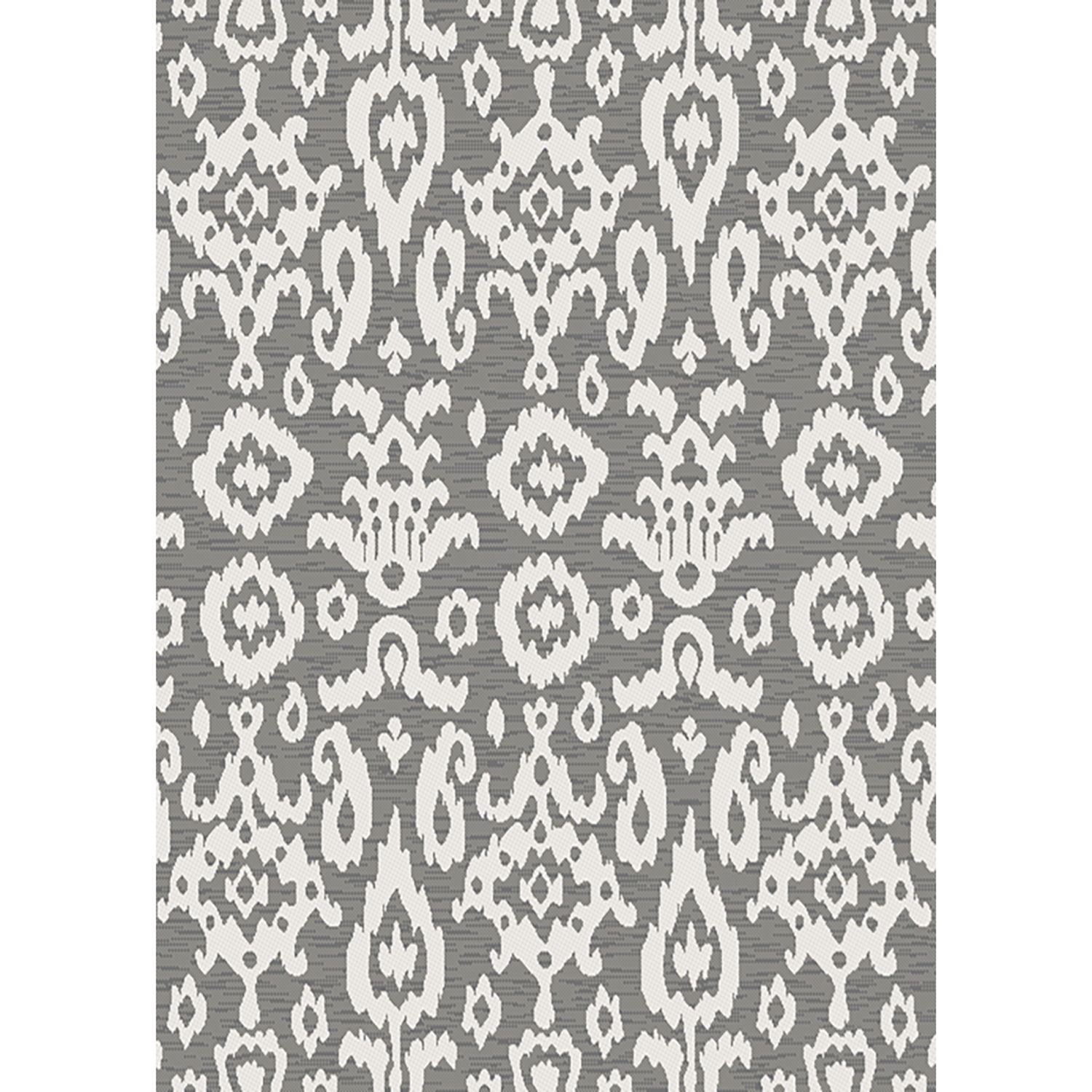 Easy Clean Grey Ikat 5x8 Rug Central
