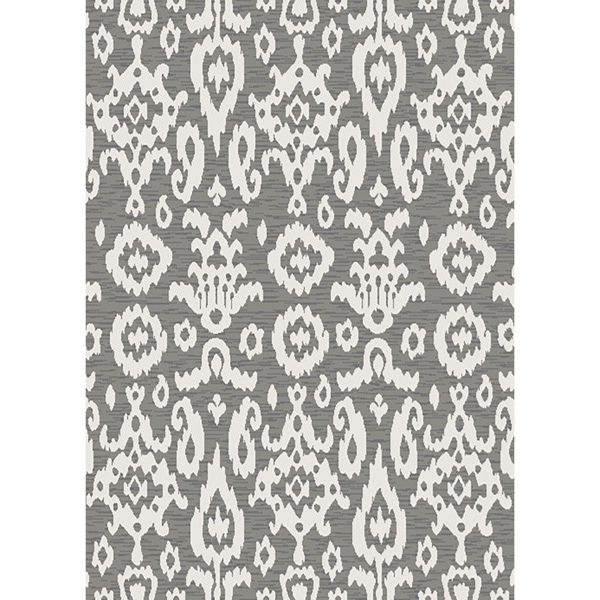 Picture of Easy Clean Grey Ikat 5x8 Rug