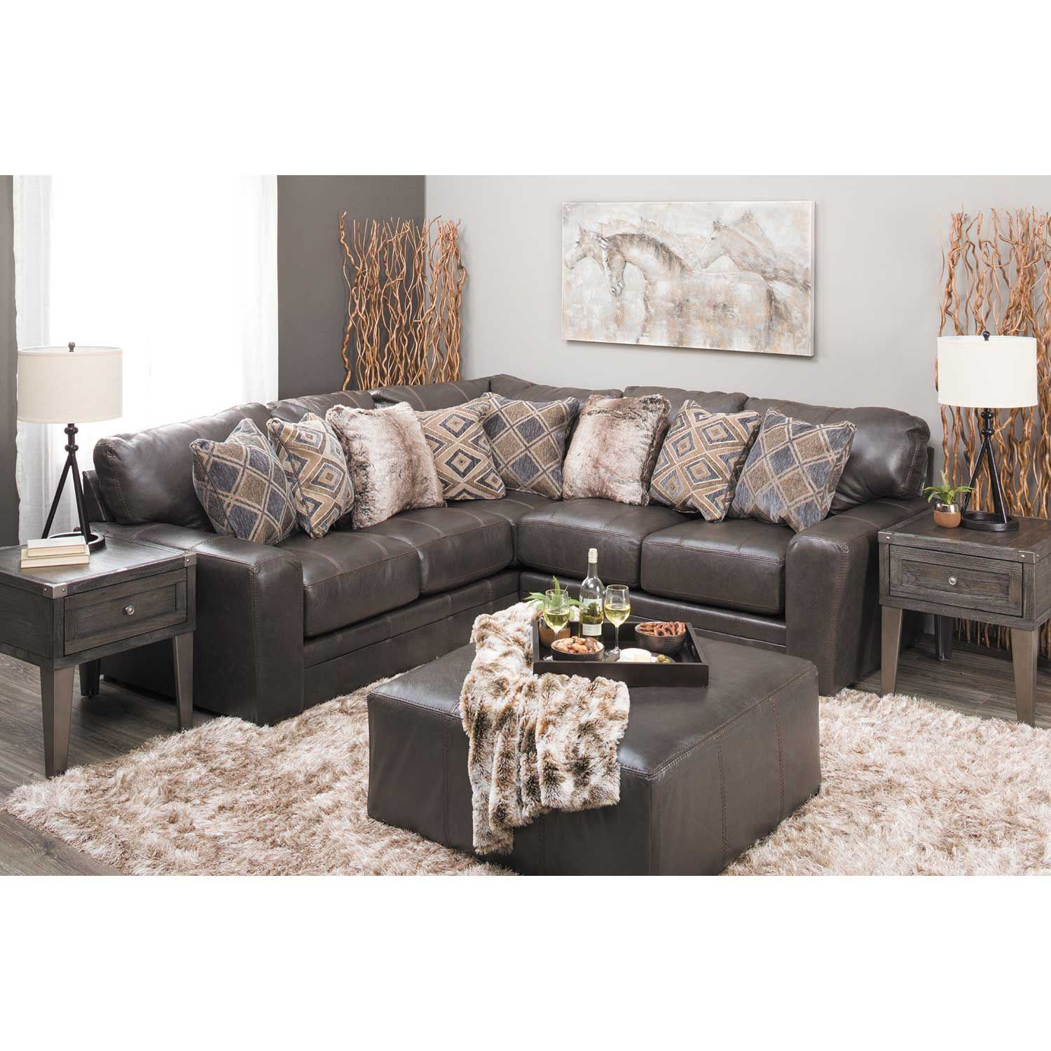Denali 2 Piece Italian Leather Sectional With Raf Loveseat 4378 42 62 Jackson Furniture
