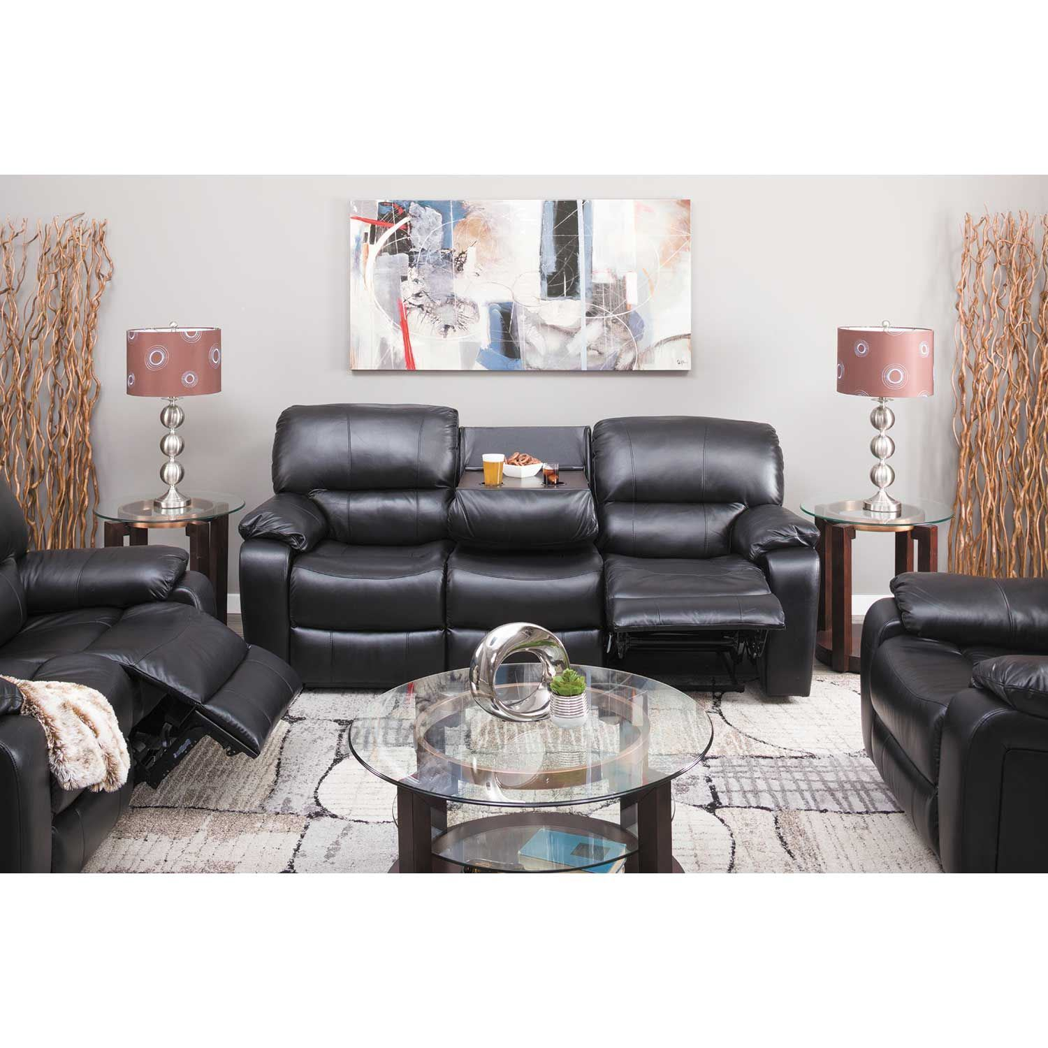 Picture of Wade Black Top Grain Leather Reclining Loveseat