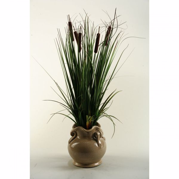 Picture of Onion Grass In Scalloped Ceramic Pot