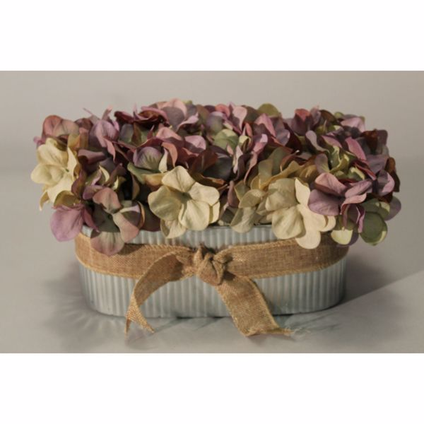 Picture of Lavender Hydrangea In Metal Tub