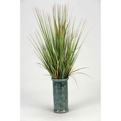 "Picture of 36"" Onion Grass In Blue Ceramic Vase"