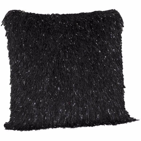 Picture of 20X20-Decorative Pillow Sparkle Shag Black