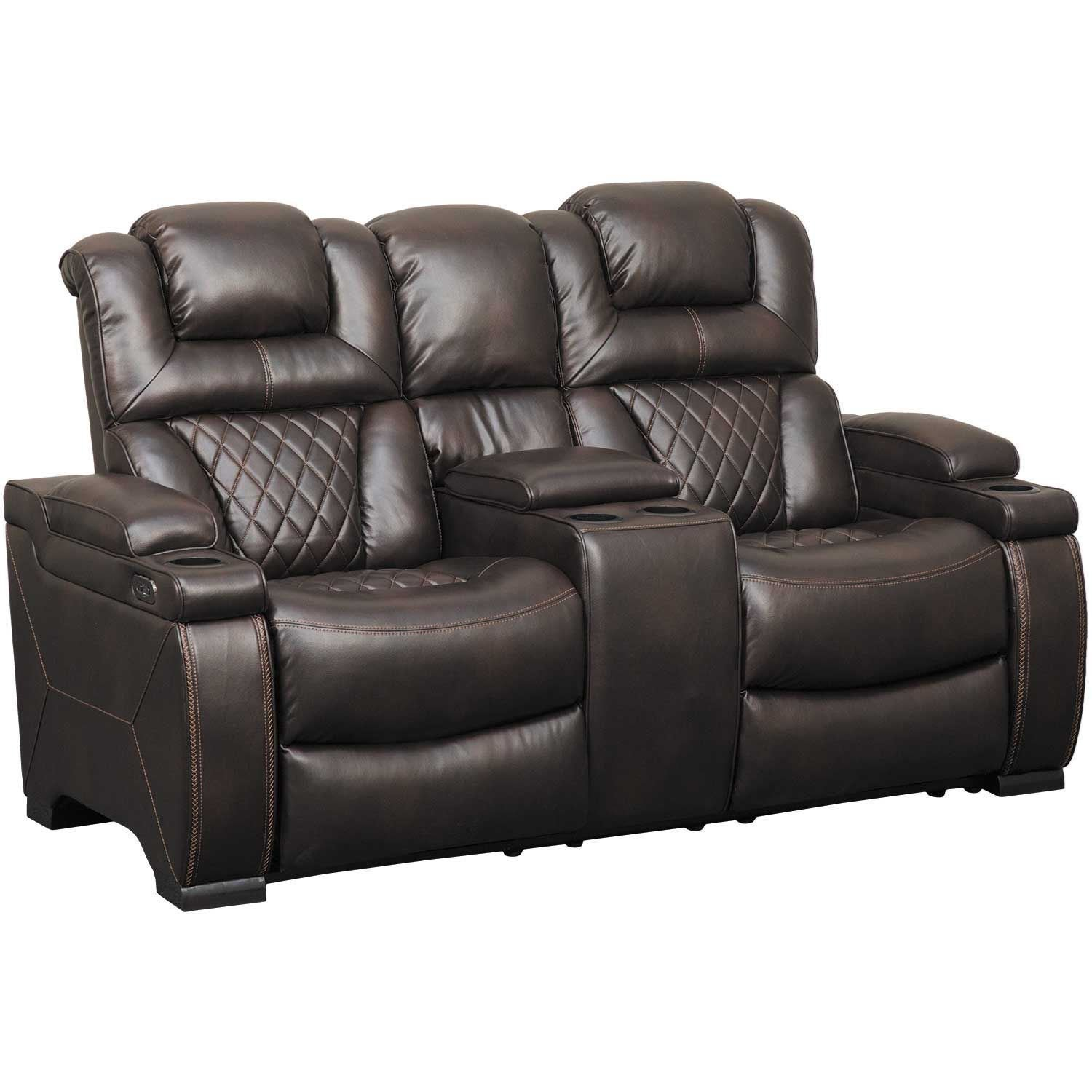 Warnerton Power Reclining Console Loveseat With Adjustable