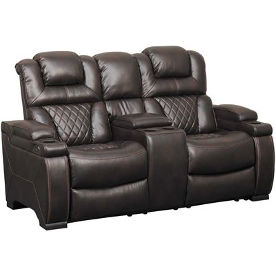 Brown power reclining loveseat
