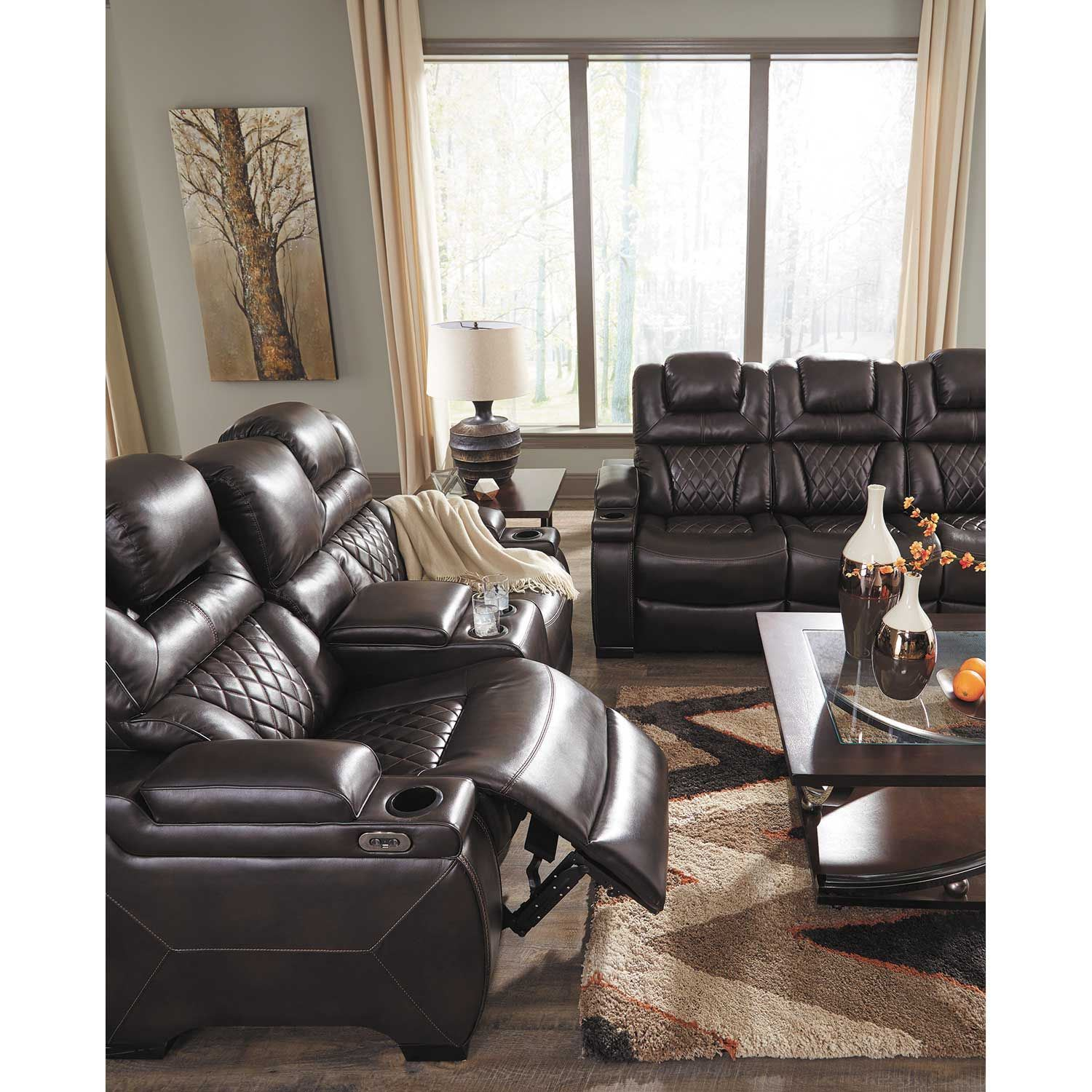 Picture of Warnerton Power Reclining Console Loveseat with Adjustable Headrest