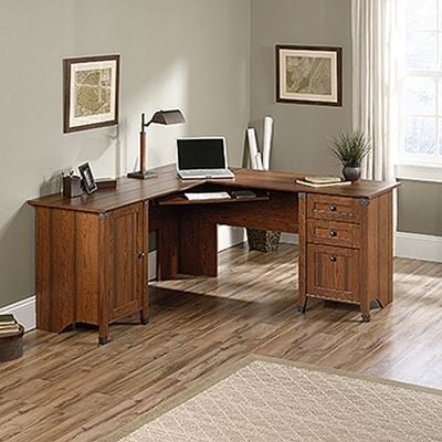 Picture of Carson Forge Corner Computer Desk Washington Cherr