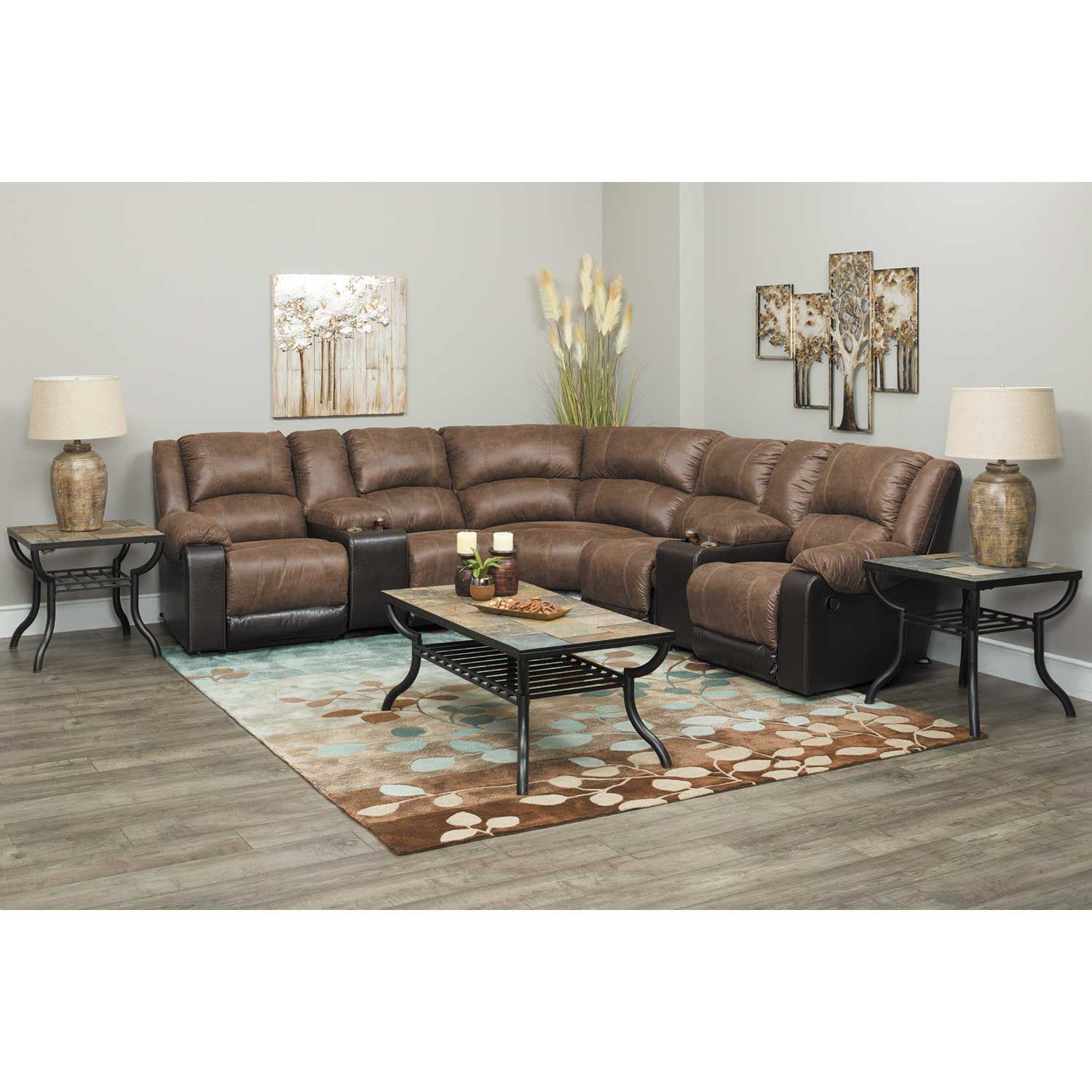 Picture of Nantahala Coffee 7 Piece Reclining Sectional with LAF Chaise