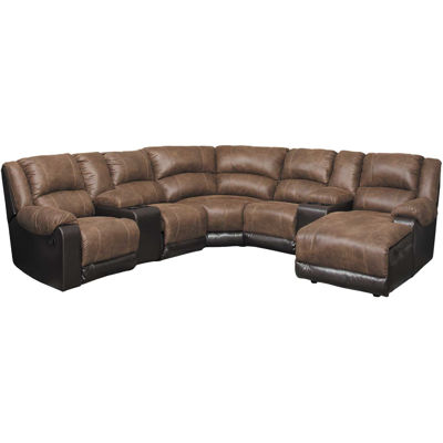 Picture of Nantahala Coffee 7 Piece Reclining Sectional with RAF Chaise