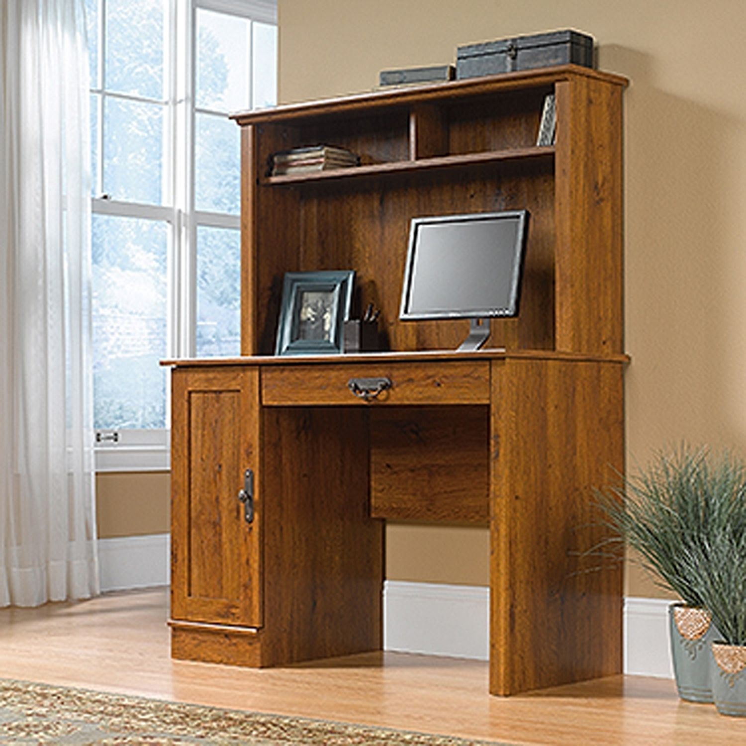 Picture of Harvest Mill Computer Desk W/hutch Abbey Oak * D