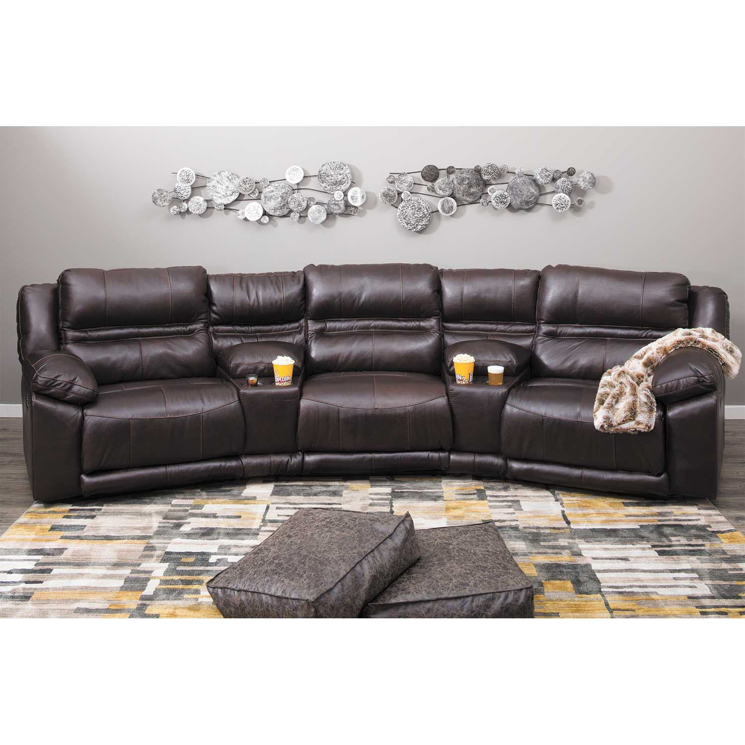 Picture of Bergamo 5 Piece Power Reclining Home Theater Sectional with Adjustable Headrest and Lumbar